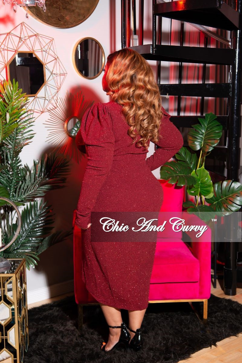 Final Sale Plus Size Long Sleeve Glitter Faux Wrap BodyCon Dress in Burgundy