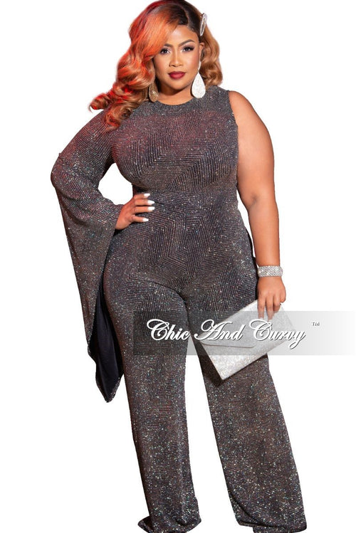 Final Sale Plus Size One Sided Bell Sleeve Jumpsuit in Glitter Multi Color