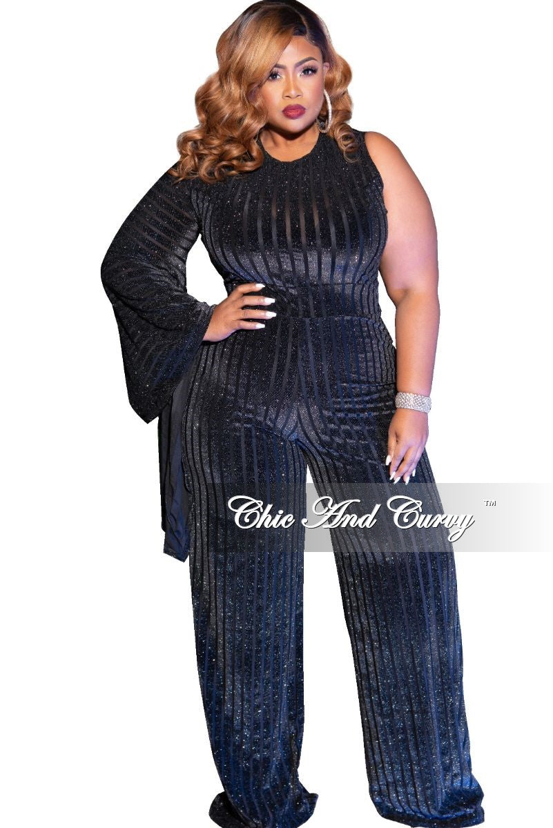 Final Sale Plus Size Shimmer One Side Bell Sleeve Velour Mesh Striped Jumpsuit in Black