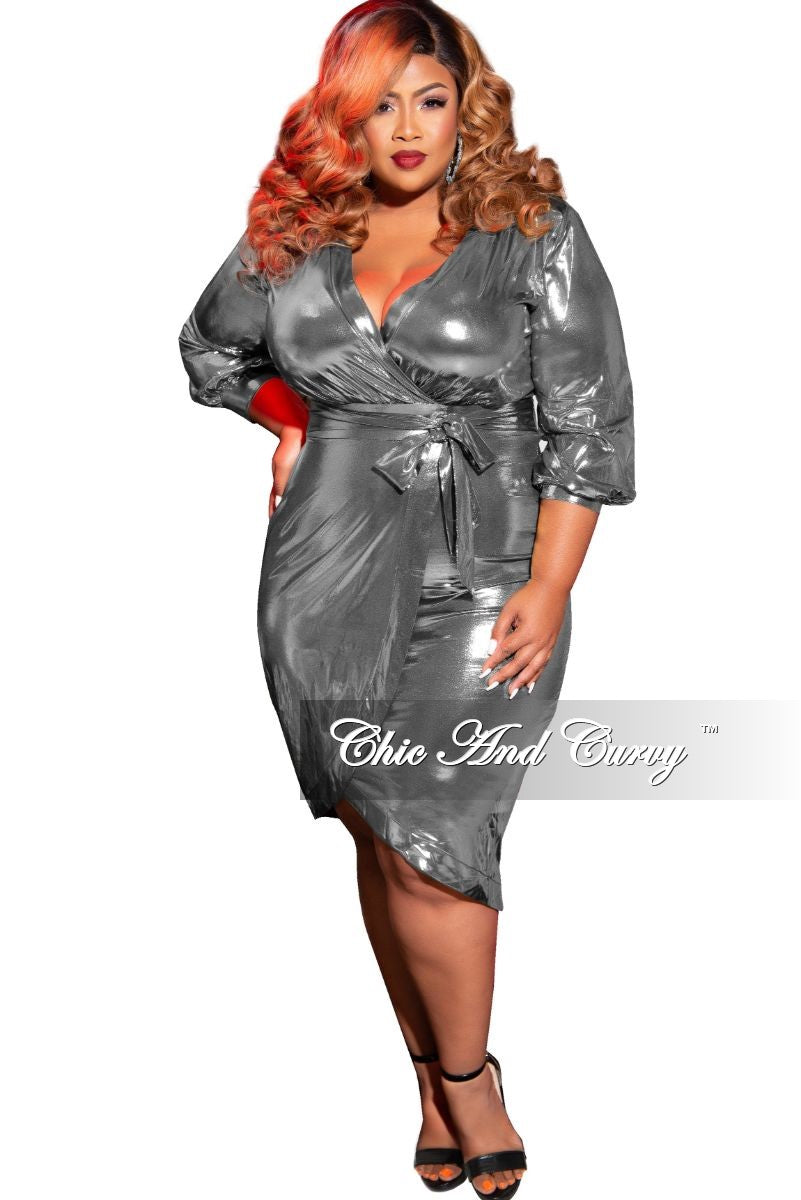 Final Sale Plus Size Metallic Faux Wrap BodyCon Dress with 3/4 Cuff Sleeves and Tie in Silver