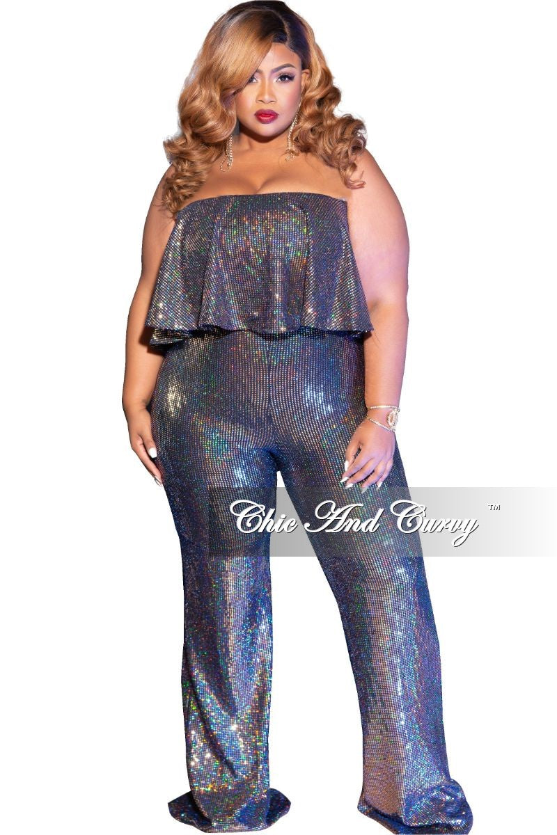Final Sale Plus Size Faux Sequin Ruffle Overlay Jumpsuit in Gold Iridescent