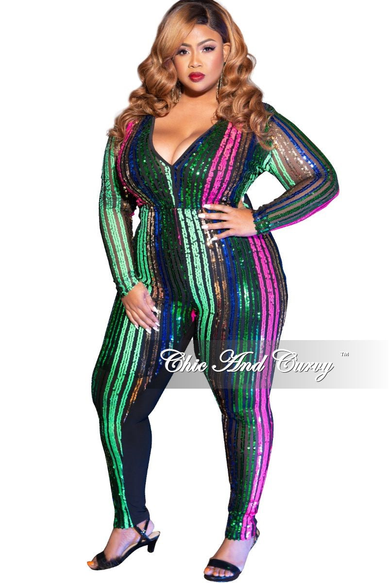 Final Sale Plus Size Front Striped Sheer Sequin V-Neck Jumpsuit in Fuchsia Multi Color