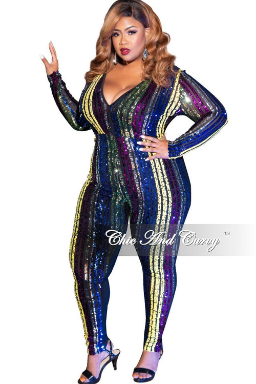 Final Sale Plus Size Front Striped Sheer Sequin V-Neck Jumpsuit in Yellow Multi Color