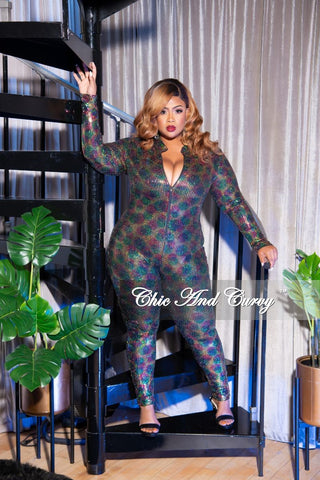 Final Sale Plus Size Glitter Sweetheart Jumpsuit in Royal Blue