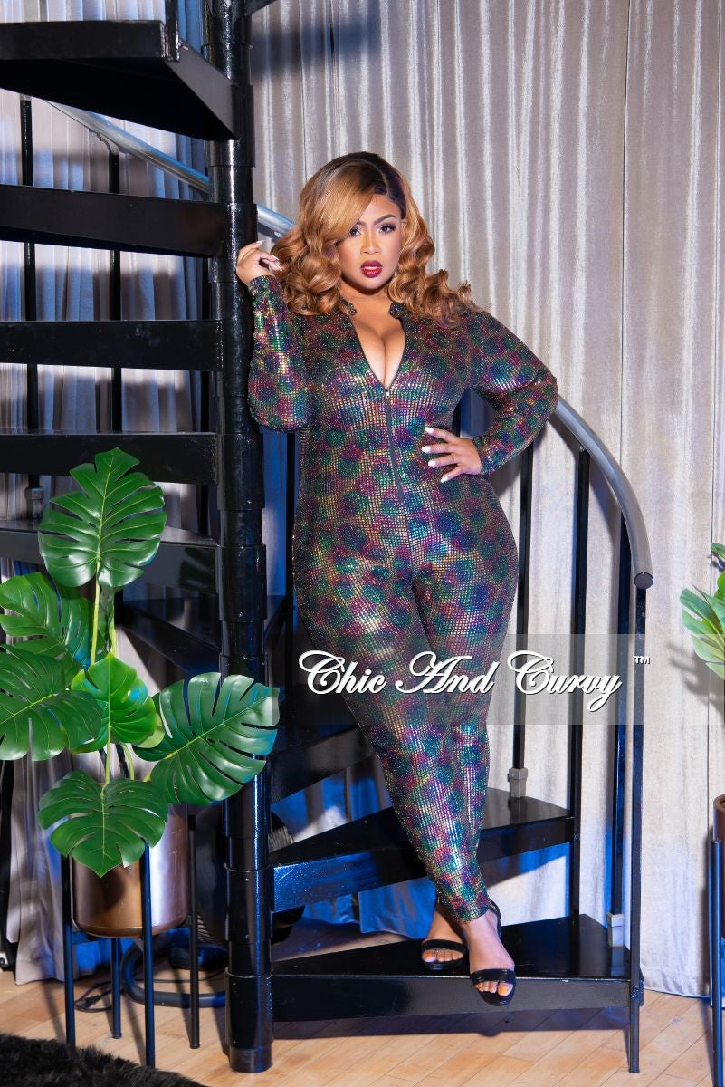 Final Sale Plus Size Zip-Up Faux Sequin Jumpsuit in Rainbow Print