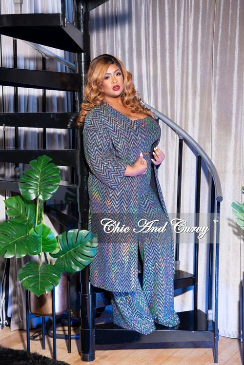 Final Sale Plus Size 3-Piece Mirror Ball Set (Duster, Crop Top and High Waist Pants) in Iridescent Silver Chevron Print