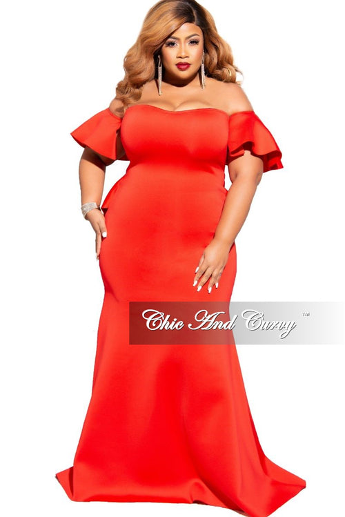 Final Sale Plus Size Off the Shoulder Ruffle Train Mermaid Gown in Red Scuba Fabric