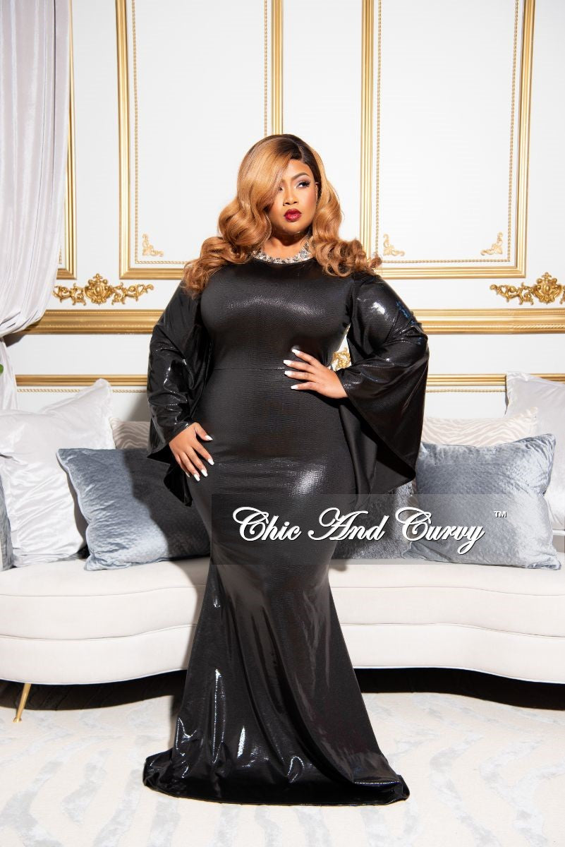 Final Sale Plus Size Exclusive Mirror Ball Faux Sequin Bell Sleeve Gown in Black