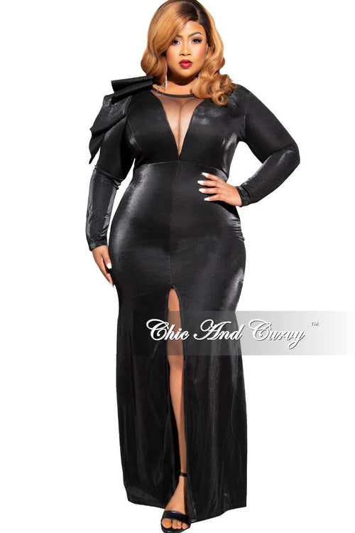 Final Sale Plus Size Gown with Front Slit and Ruffle Shoulder in Black