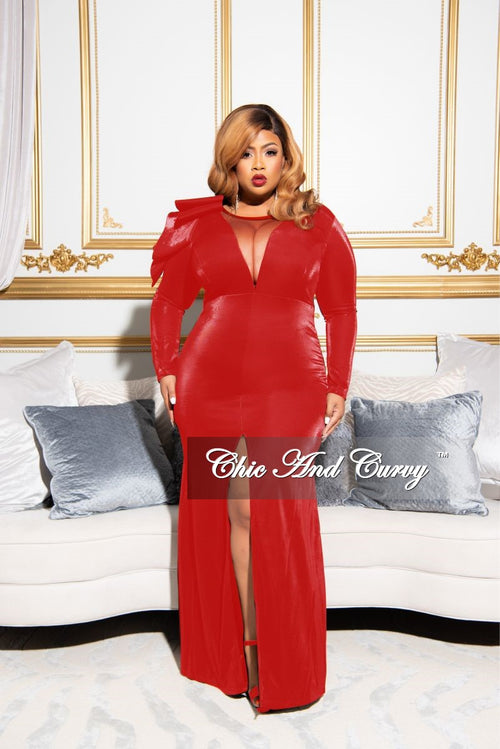 Final Sale Plus Size Gown with Front Slit and Ruffle Shoulder in Red