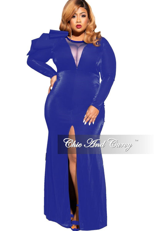 Final Sale Plus Size Mesh Panel Gown with Front Slit and Ruffle Shoulder in Royal Blue