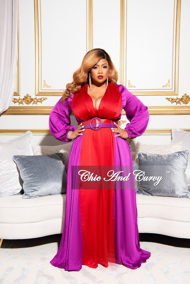 Final Sale Plus Size Satin V-Neck Color-Block Gown in Purple and Red