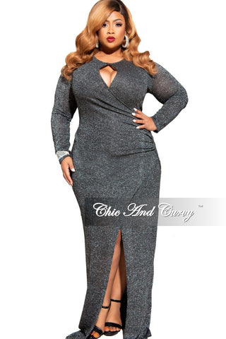 Final Sale Plus Size One Sided Ruffle Gown with Front Slit in Black