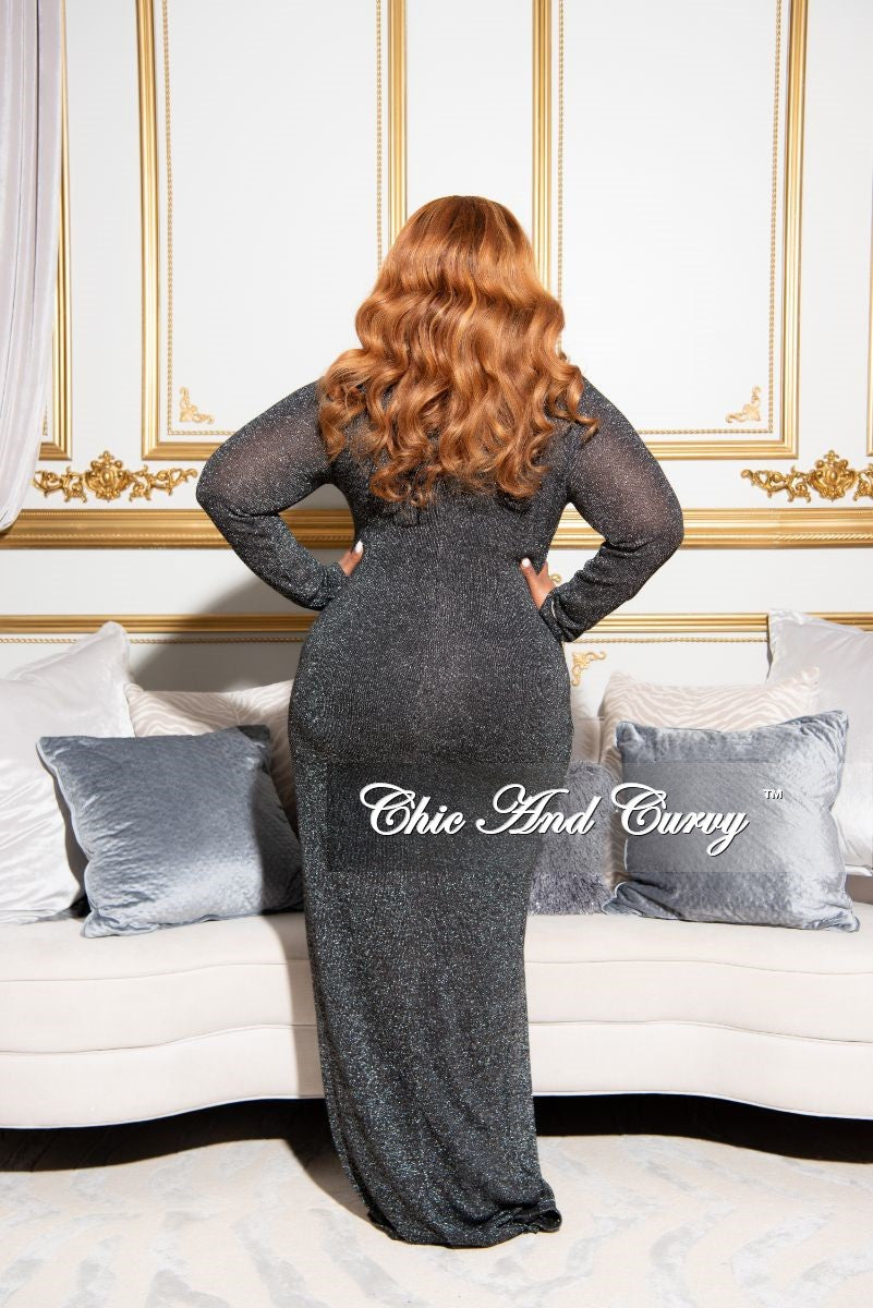 Final Sale Plus Size Shimmer Keyhole Faux Wrap Gown in Charcoal
