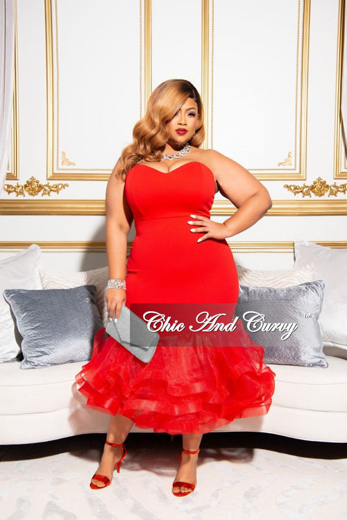 Final Sale Plus Sweetheart BodyCon Dress with Tulle Bottom in Red