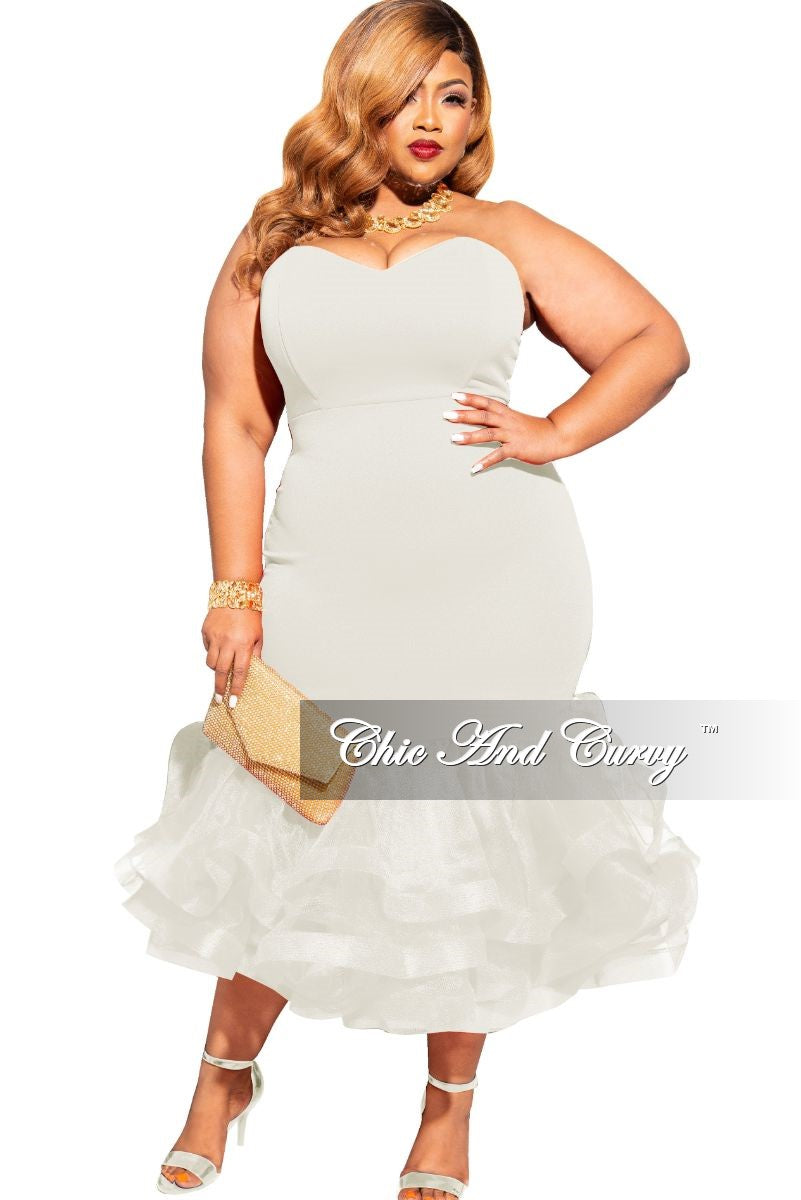 Final Sale Plus Sweetheart BodyCon Dress with Tulle Bottom in Ivory
