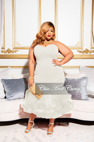 Final Sale Plus Size Fringe Shoulder Gown in Ivory