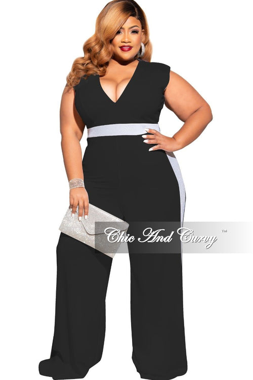 Final Sale Plus Size Silver Shimmer Trim V-Neck Jumpsuit in Black