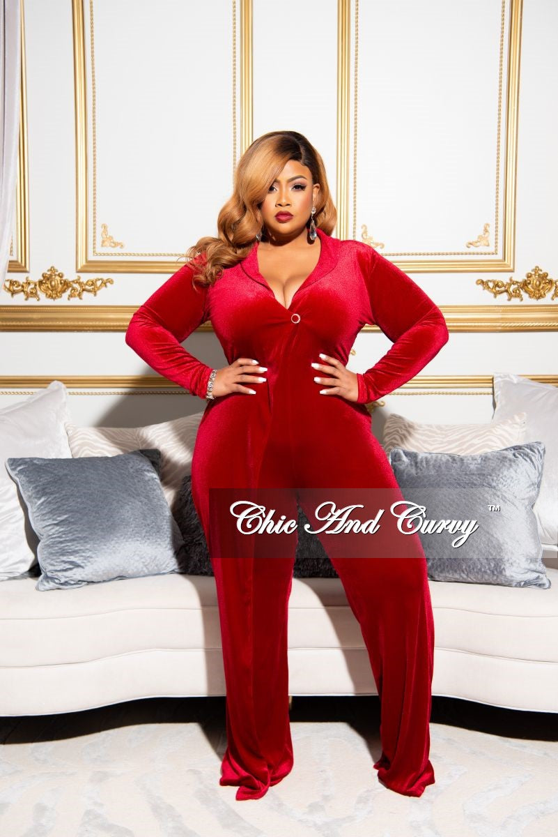 Final Sale Plus Size Velvet Collared Rhinestone Button Jumpsuit in Red