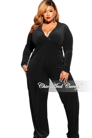 Final Sale Plus Size Zip Front Sequin Solid Back Jumpsuit in Pewter