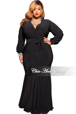 Final Sale Plus Size Gown with Deep V and Mermaid Bottom in Hot Pink