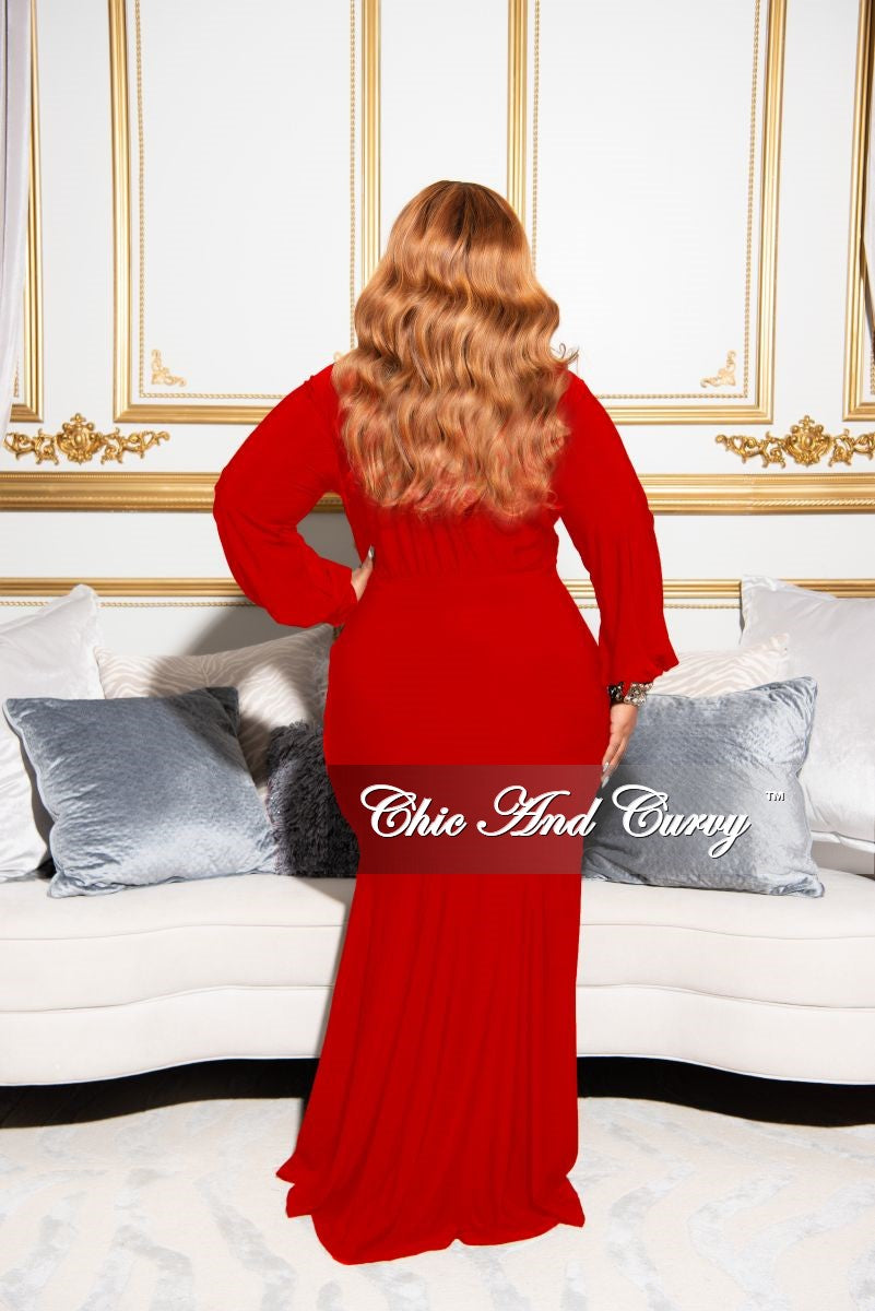 Final Sale Plus Size Exclusive Chic And Curvy Faux Wrap Mermaid Bottom Tie Gown in Red