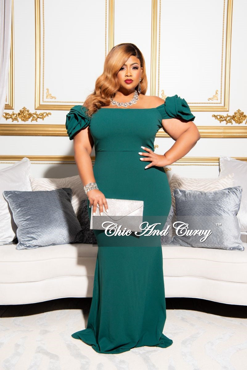 Final Sale Plus Size Gown with Rose-Shaped Sleeve in Green