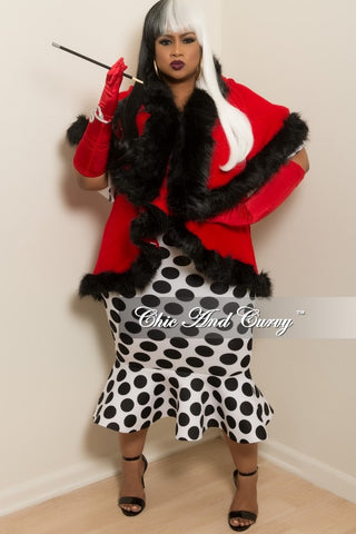 New Plus Size Coat with Faux Fur Cuff and Neck Trim in Red and Black