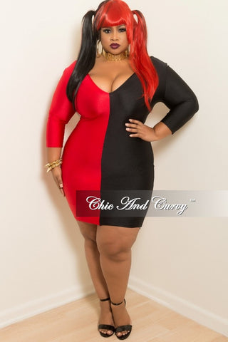 Final Sale Plus Size Shimmer BodyCon Dress with 3/4 Sleeves in Black and Red (Seasonal)