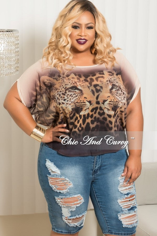 Final Sale Plus Size Mesh Cheetah Print Top in Beige and Brown