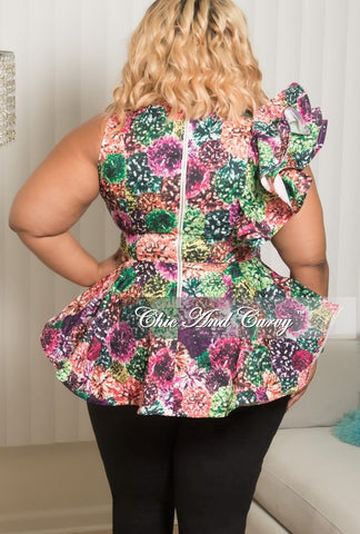 New Plus Size Multi Colored Top with Side Ruffle and Back Zipper in Green, Purple, Hot Pink and Orange