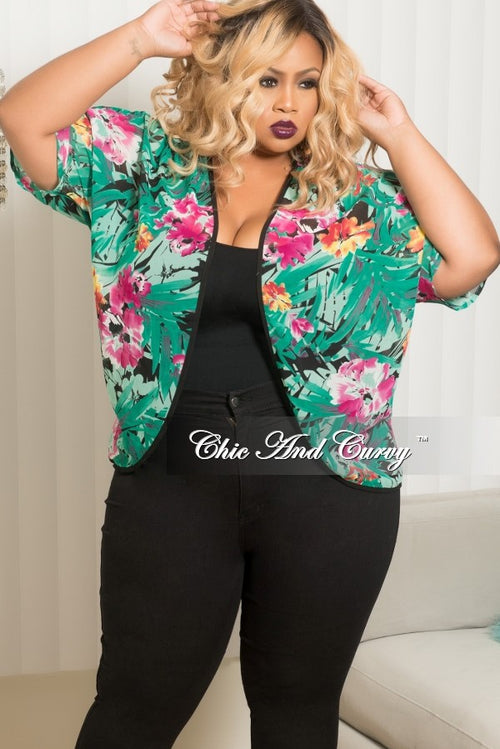 Final Sale Plus Size Chiffon Cardigan With Black Trim in Green, Magenta, Yellow and Orange
