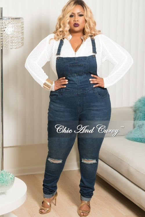 New Plus Size Distressed Overalls in Dark Denim