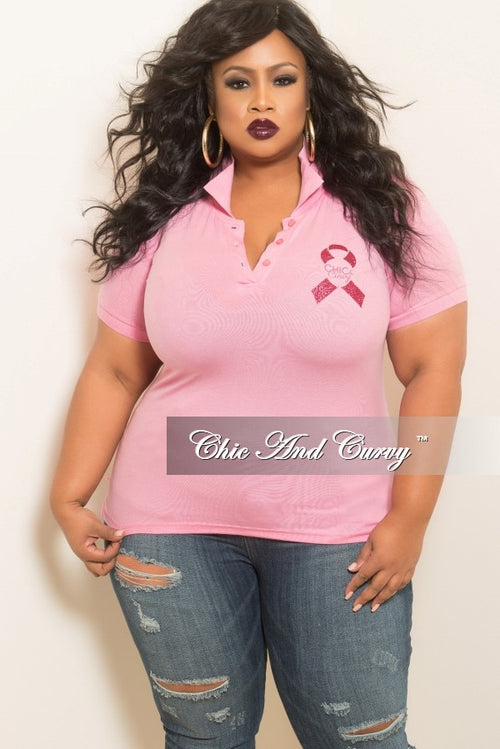 Final Sale Plus Size Chic & Curvy Breast Cancer Awareness Collar Shirt in Pink