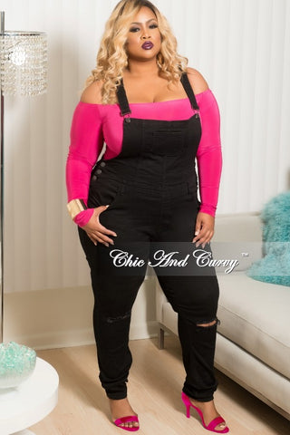 New Plus Size Distressed Overalls in Black