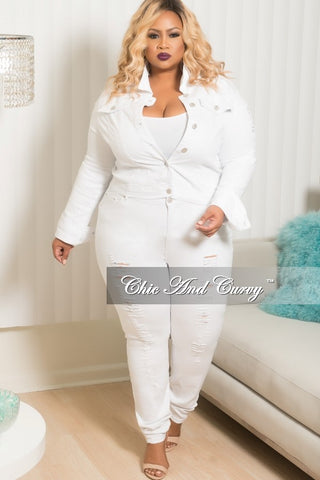 Final Sale Plus Size 2 Piece Denim Distressed Jacket and Pants Set in White