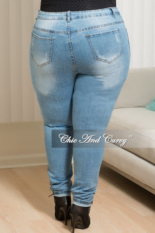 New Plus Size High Rise Fishnet Patched Skinny Jeans in Denim