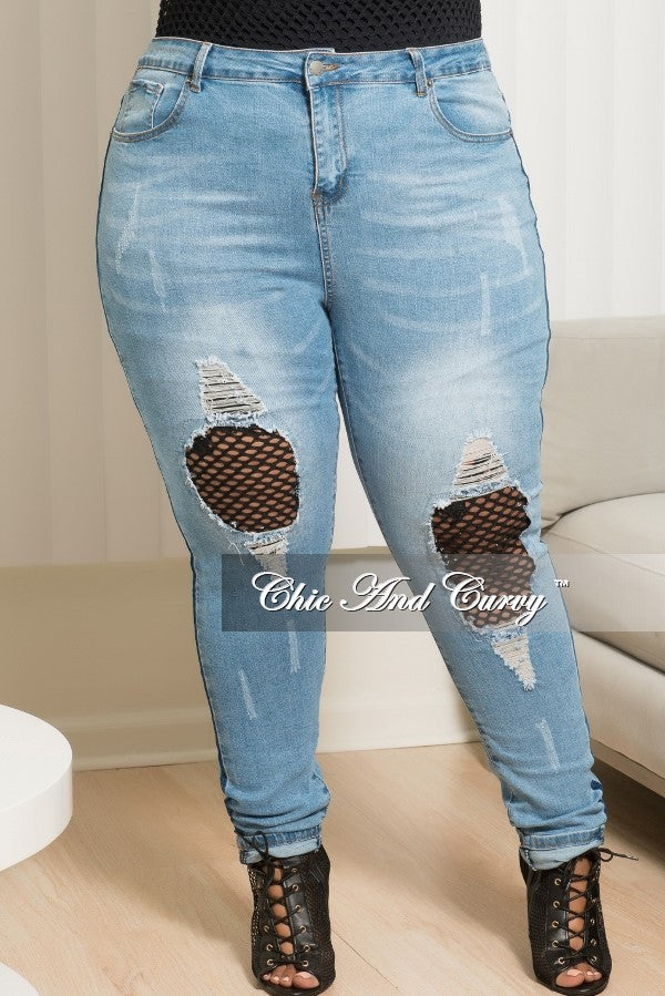 Final Sale  Plus Size High Rise Fishnet Patched Skinny Jeans in Denim