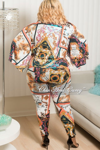 New Plus Size 2-Piece Kimono Sleeves Tie Top and Pants Set in Multi Colored Venechia Print
