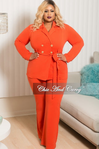 New Plus Size 2 Piece Collar Jacket Pants Set with Gold Buttons and Attached Tie in Orange
