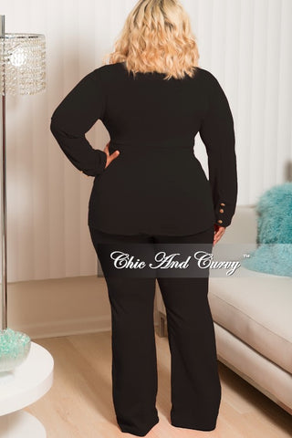 New Plus Size 2 Piece Collar Jacket Pants Set with Gold Buttons and Attached Tie in Black
