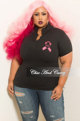 Final Sale Plus Size Chic & Curvy Breast Cancer Awareness Collar Shirt in Black and Pink