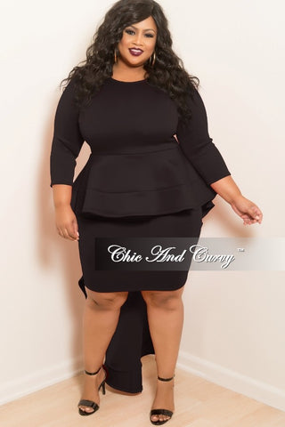 New Plus Size Round Neck Peplum Bodycon High Low Ruffle Dress with 3/4 Sleeves in Black