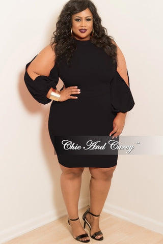 New Plus Size BodyCon Dress with Slit Sleeves in Black