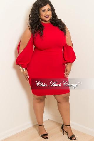 New Plus Size BodyCon Dress with Slit Sleeves in Red