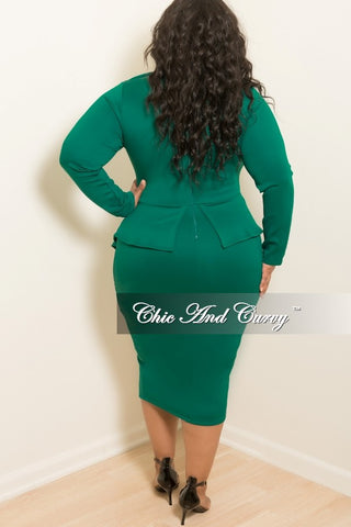 New Plus Size BodyCon Peplum Dress with Neck Tie and Back Zipper in Green