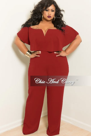 New Plus Size Deep V Ruffle Jumpsuit in Burgundy
