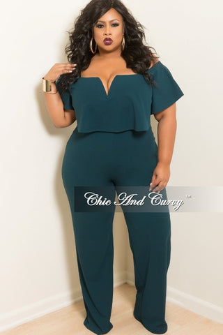 New Plus Size Deep V Ruffle Jumpsuit in Hunter Green