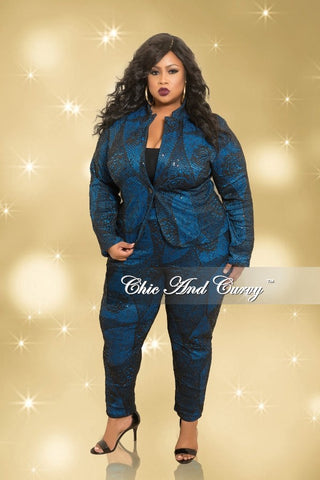 Final Sale Plus Size Bonding Lace 2-Piece Jacket and Pants Set in Royal Blue and Black (Seasonal)