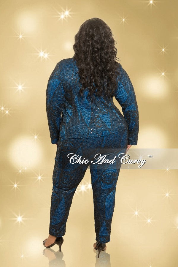 35% Off Sale - Final Sale  Plus Size Bonding Lace 2-Piece Jacket and Pants Set in Royal Blue and Black (Seasonal)